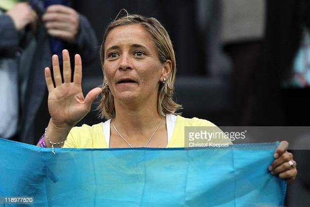 Inka Grings of Germany watches the FIFA Women's World Cup Semi Final match between Japan and Sweden at the FIFA World Cup stadium Frankfurt on July...