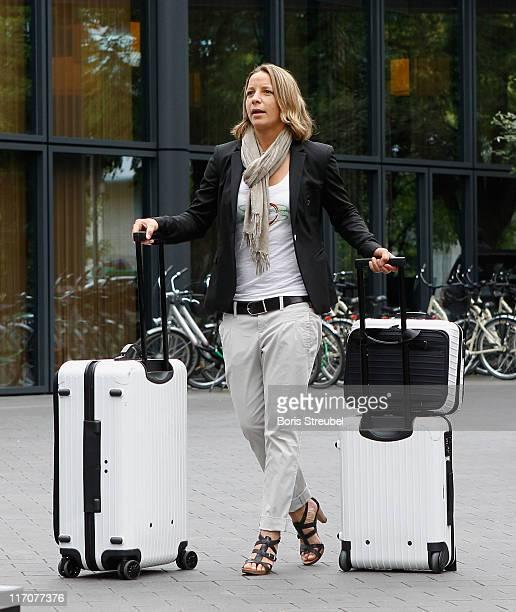 Inka Grings of the German Woman's National Football Team arrives at Hotel Esplanade on June 21 2011 in Berlin Germany
