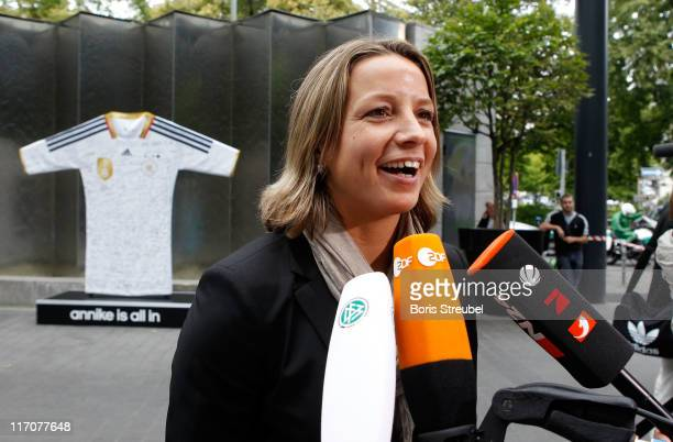 Inka Grings of the German Woman's National Football Team gives an interview on her arrival at Hotel Esplanade on June 21 2011 in Berlin Germany