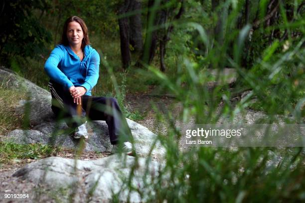 Inka Grings poses during a German National Team photocall at the Scandic Rosendahl hotel on August 31 2009 in Tampere Finland