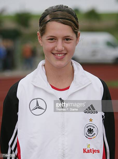 Inka Wesely poses during the photo call of the Women's U15 German National Team on August 14 2006 in Uslar Germany