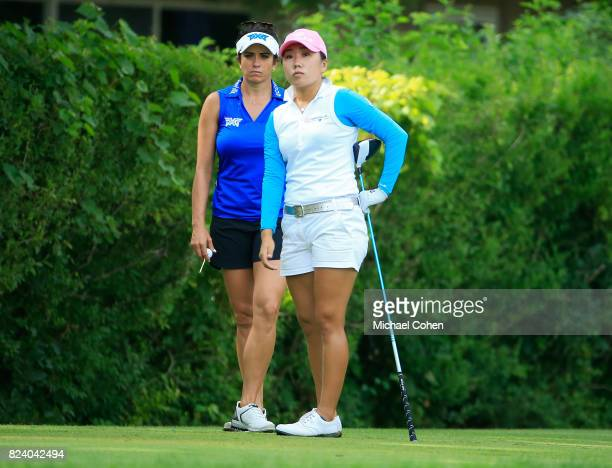 InKyun Kim of South Korea and Gerina Piller look on during the second round of the Marathon Classic Presented By Owens Corning And OI held at...