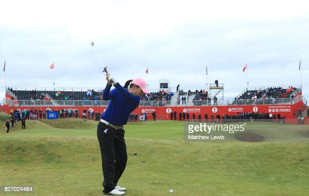 InKyung Kim of Korea hits her second shot on the 18th hole during the final round of the Ricoh Women's British Open at Kingsbarns Golf Links on...