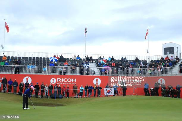 InKyung Kim of Korea putts on the 18th green during the final round of the Ricoh Women's British Open at Kingsbarns Golf Links on August 6 2017 in...