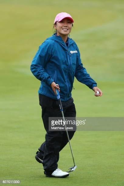 InKyung Kim of Korea reacts on the 13th green during the final round of the Ricoh Women's British Open at Kingsbarns Golf Links on August 6 2017 in...