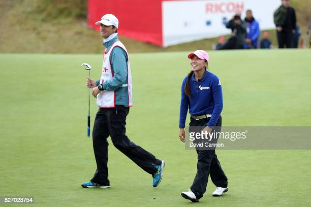 InKyung Kim of Korea reacts to her victory on the 18th green during the final round of the Ricoh Women's British Open at Kingsbarns Golf Links on...