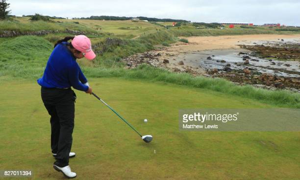 InKyung Kim of Korea tees off on the 15th hole during the final round of the Ricoh Women's British Open at Kingsbarns Golf Links on August 6 2017 in...