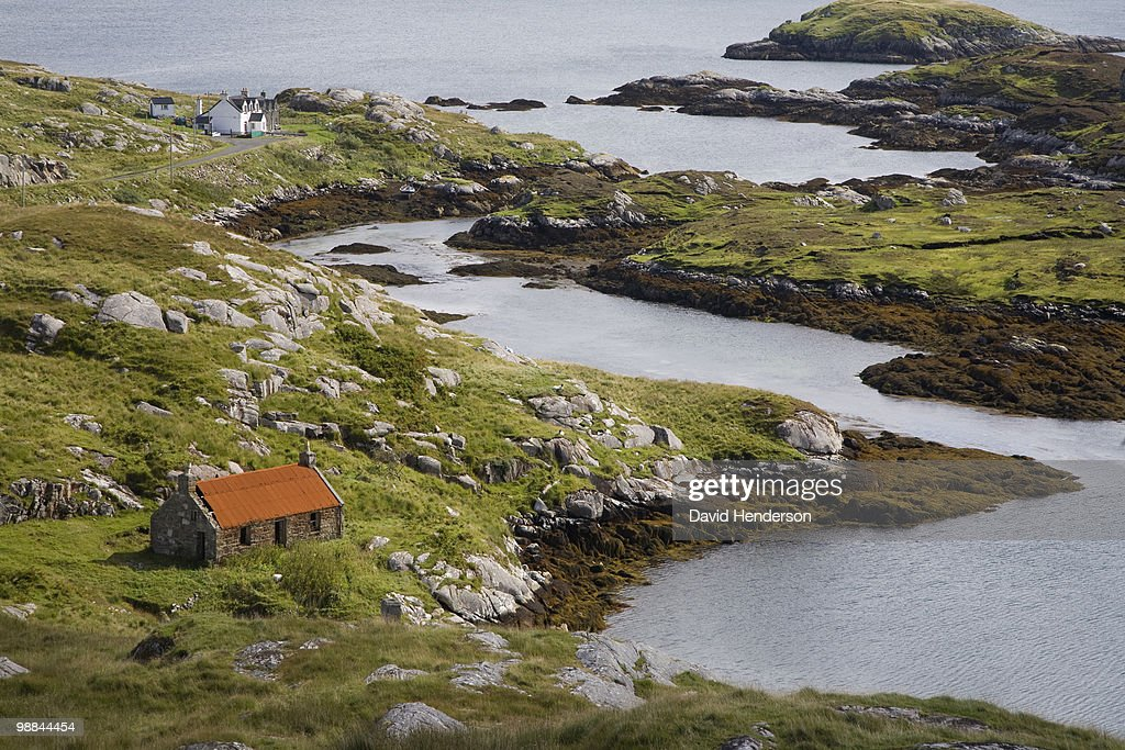 Inlet and cottage, Rodel, Isle of Harris : Stock Photo