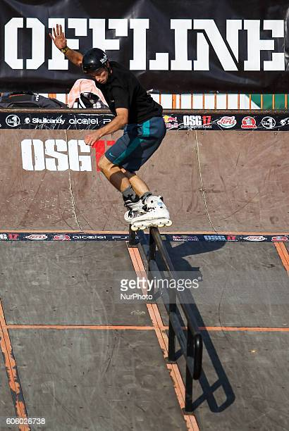 InLine skater in action during the final of the 17th of OSG Offline Sport Games at Városliget on Sept 10 2016 in Budapest Hungary