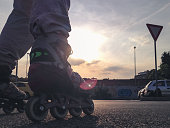 Inline skating at sunset