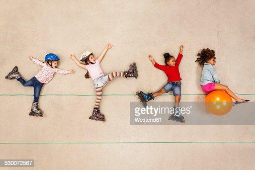 Inline skating children having fun