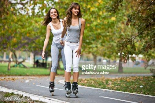 Inline skating together