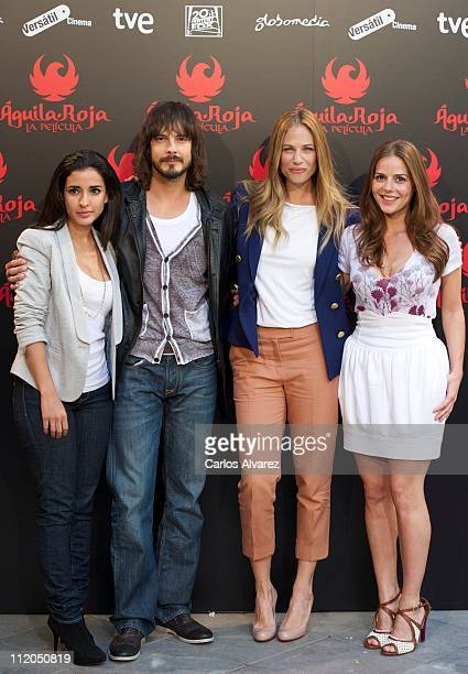Inma Cuesta David Janer Martina Klein and Miryam Gallego attend the 'Aguila Roja' photocall at Santo Mauro Hotel on April 12 2011 in Madrid Spain