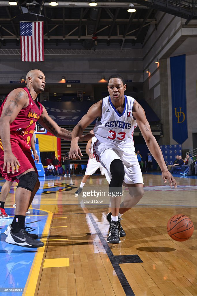 Inman of the Delaware 87ers handles the ball against the Fort Wayne Mad Ants during the NBA DLeague game on December 15 2013 at the Frank Acierno...