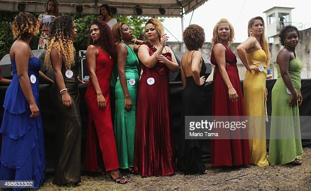 Inmate contestants stand at the annual beauty pageant at the Talavera Bruce womenÕs prison on November 24 2015 in Rio de Janeiro Brazil The pageant...