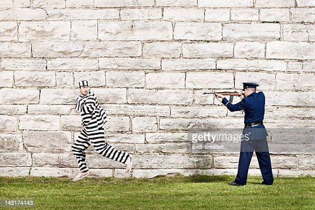 Inmate Running From Officer With Rifle