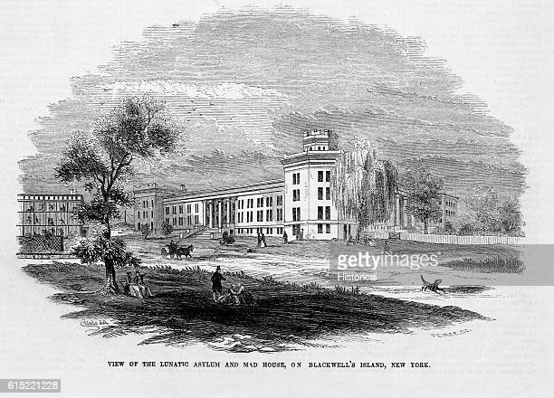 Inmates are visible behind the bars of the 'mad house' at the psychiatric hospital on Blackwell's Island New York in 1853