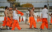 Inmates at Chino State Prison exercise in the yard December 10 2010 in Chino California The US Supreme Court is preparing to hear arguments to appeal...