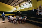 Inmates attend a class on biblical education at the Apanteos prison in Santa Ana 66 km west of San Salvador on July 15 2016 Apanteos is a model...