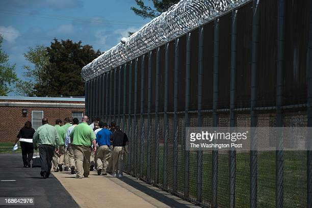 Inmates enrolled in a Russian literature course walk to class at Beaumont Juvenile Correctional Center in Beaumont VA on April 16 2013