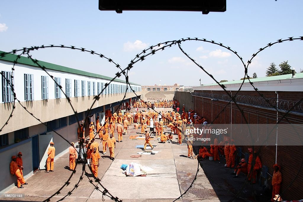Inmates in the exercise yard on April 23, 2009 in Leeukop Prison in Johannesburg, South Africa. Inmates from Leeuwkop Prison educate students on the reasons why crime does not pay.