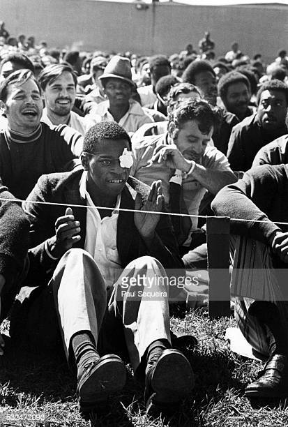 Inmates listen to blues singer and guitarist BB King performing at the Cook County Jail Chicago Illinois 1971