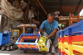 Inmates make carpentry works at the Apanteos prison in Santa Ana 66 km west of San Salvador on July 15 2016 Apanteos is a model prison in the...