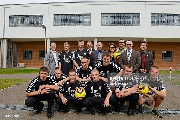 Inmates of the juvenile prison and Ingeborg Schaefer of the Saxonian ministry of justice Tobias Wrzesinski of the Sepp Herberger Foundation Nico Ohme...