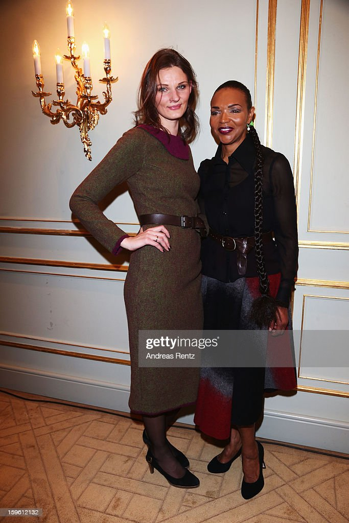 Inna Thomas and Valerie Campbell attend Sava Nald Autumn/Winter 2013/14 fashion show during Mercedes-Benz Fashion Week Berlin at Hotel Adlon Kempinski on January 17, 2013 in Berlin, Germany.