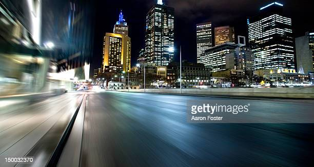Inner city road in motion, Melbourne