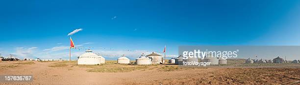 Inner Mongolia remote grassland yurt village tent homes panorama China