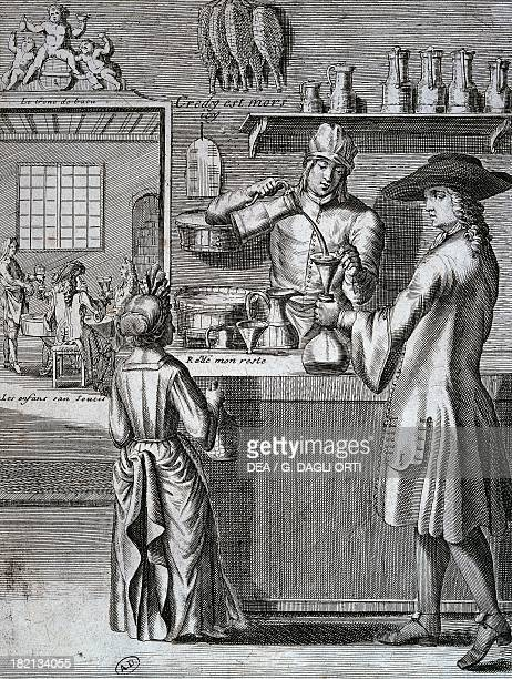 Innkeeper pouring wine for the customers of an inn engraving France 17th century Paris Bibliothèque Des Arts Decoratifs