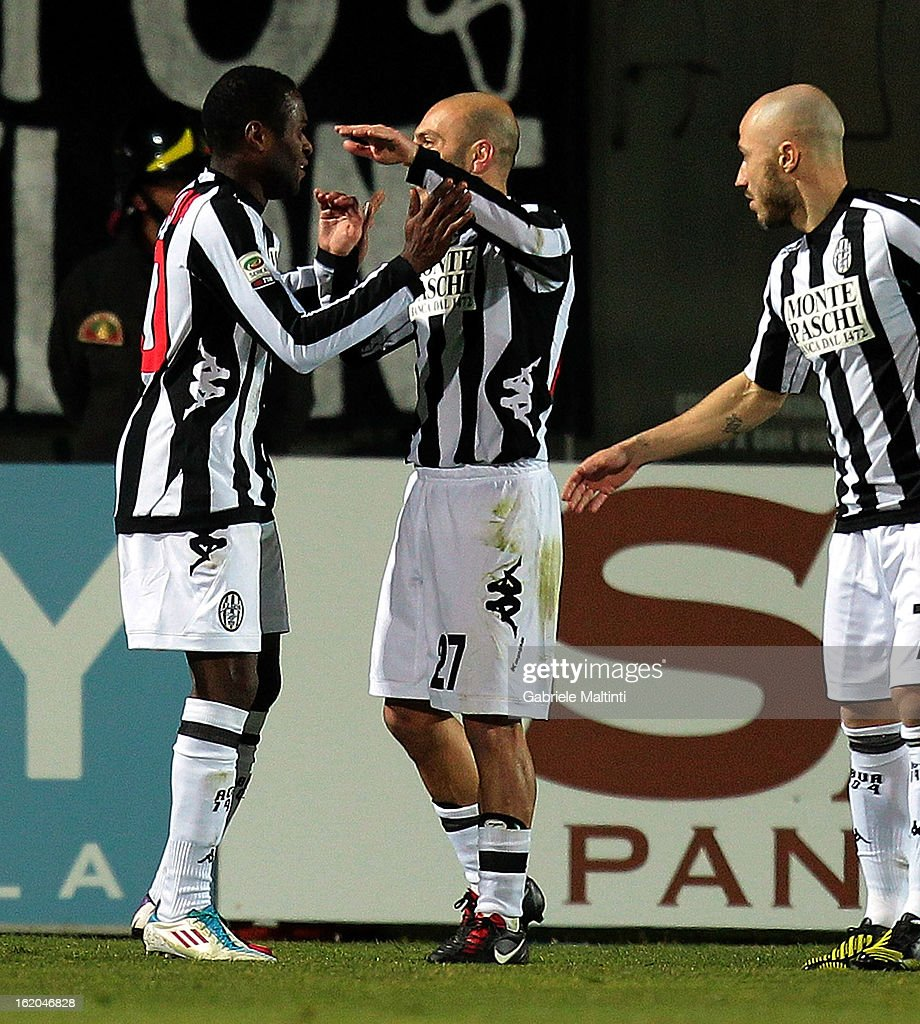 Innocent Emeghara (L) and Alessandro Rosina of AC Siena celebrates after scoring a goal during the Serie A match between AC Siena and S.S. Lazio at Stadio Artemio Franchi on February 18, 2013 in Siena, Italy.
