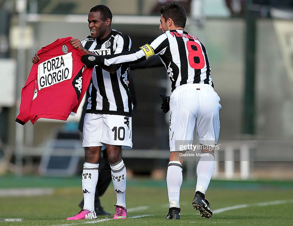 Innocent Emeghara and Simone Veregassola of AC Siena celebrates after scoring a goal during the Serie A match between AC Siena and FC Internazionale Milano at Stadio Artemio Franchi on February 3, 2013 in Siena, Italy.