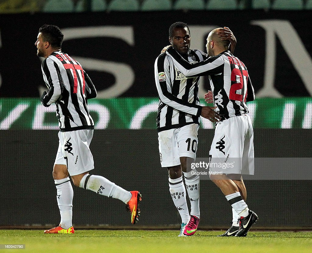 Innocent Emeghara (C) of AC Siena celebrates after scoring a goal during the Serie A match between AC Siena and S.S. Lazio at Stadio Artemio Franchi on February 18, 2013 in Siena, Italy.