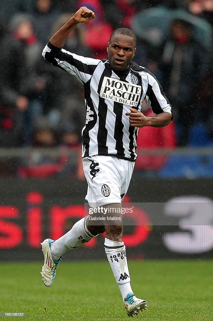 Innocent Emeghara of AC Siena celebrates after scoring a goal during the Serie A match between Genoa CFC and AC Siena at Stadio Luigi Ferraris on March 30, 2013 in Genoa, Italy.