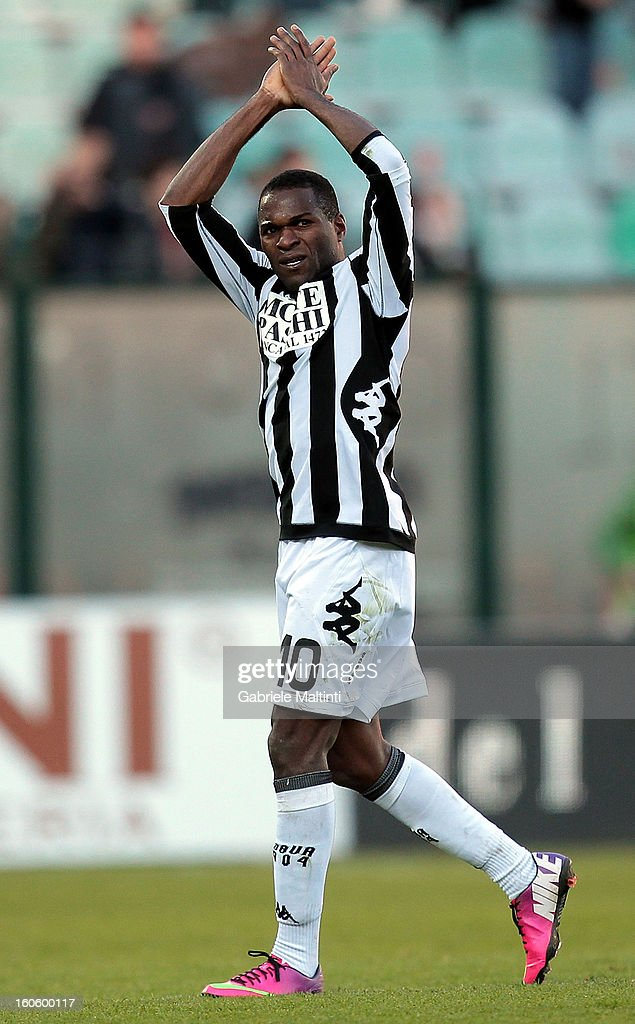 Innocent Emeghara of AC Siena reacts during the Serie A match between AC Siena and FC Internazionale Milano at Stadio Artemio Franchi on February 3, 2013 in Siena, Italy.