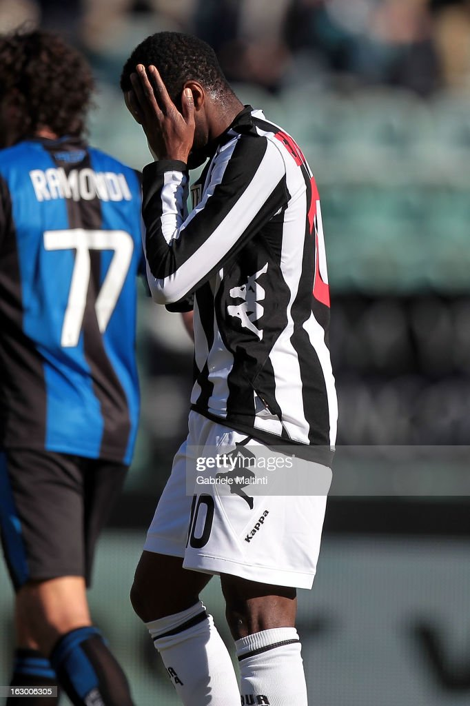 Innocent Emeghara of AC Siena shows his dejection during the Serie A match between AC Siena and Atalanta BC at Stadio Artemio Franchi on March 3, 2013 in Siena, Italy.