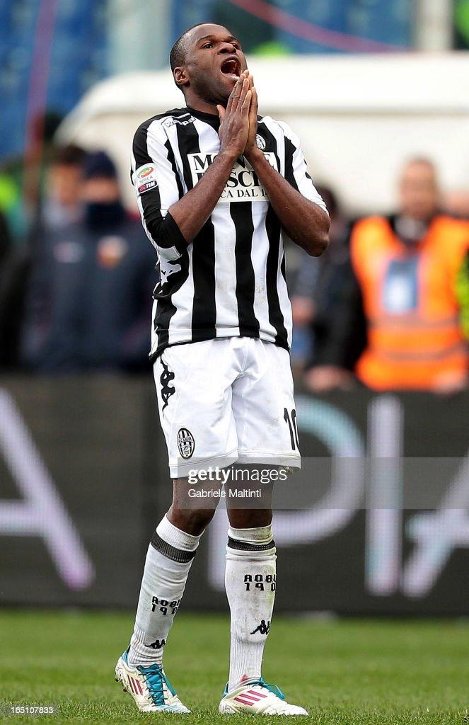 Innocent Emeghara of AC Siena shows his dejection during the Serie A match between Genoa CFC and AC Siena at Stadio Luigi Ferraris on March 30, 2013 in Genoa, Italy.