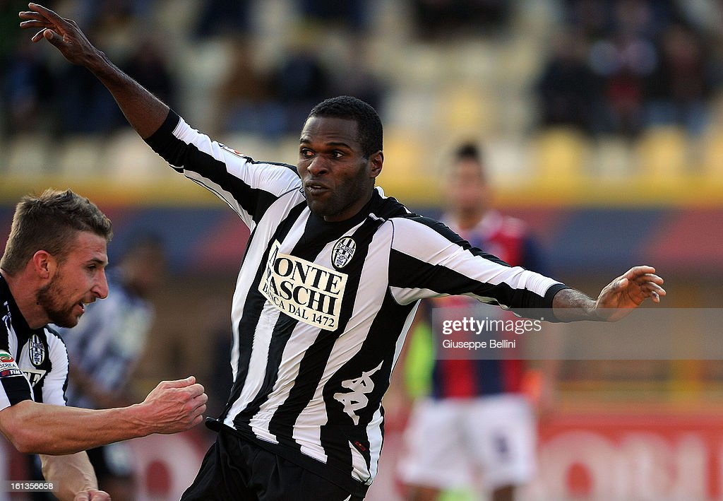 Innocent Emeghara of Siena celebrates after scoring the opening goal during the Serie A match between Bologna FC and AC Siena at Stadio Renato Dall'Ara on February 10, 2013 in Bologna, Italy.