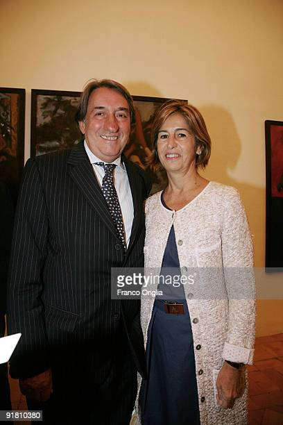 Innocenzo Cipolletta and his wife attend the Gerard Garouste Exhibition Dinner at the French Academy of Villa Medici on October 12 2009 in Rome Italy