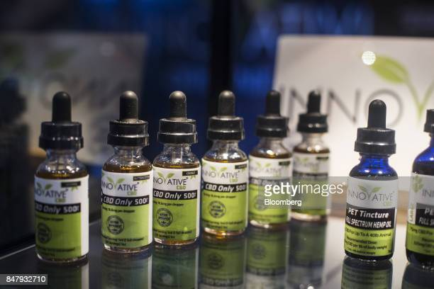 Innovated CBD oil is displayed during the Cannabis World Congress Business Expo in Los Angeles California US on Thursday Sept 14 2017 The 4th annual...