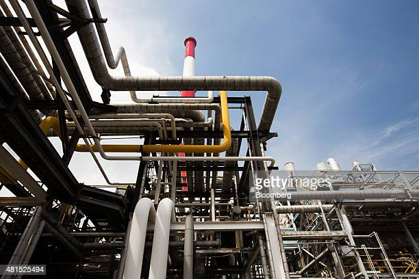 SK Innovation Co's Ulsan Complex oil refinery facilities operate in Ulsan South Korea on Tuesday July 21 2015 SK Innovations is scheduled to report...