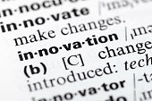Dictionary definition of word innovation, close-up vie