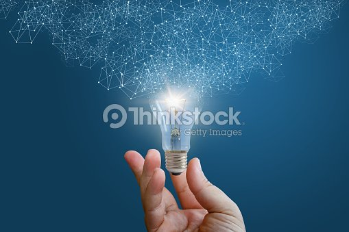 Innovative idea in businessman hand. : Stock Photo