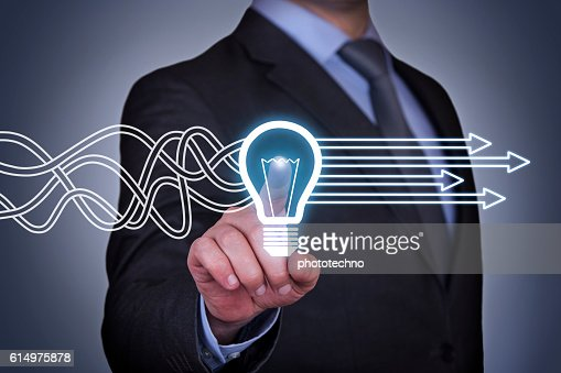 Innovative idea solution concept on touch screen : Foto stock