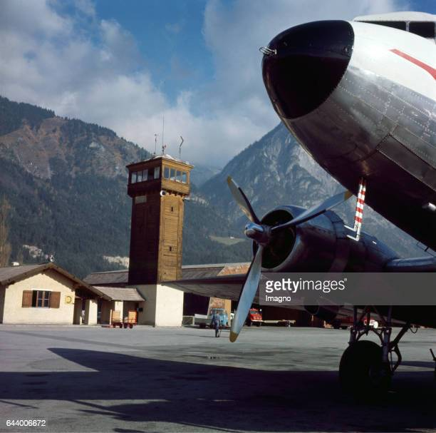 Innsbruck Airport In the front an aircraft of the Austrian Airlines Photograph Ca 1965