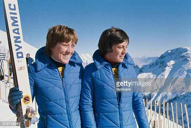 Rosi Mittermaier Gold Medal winner for Downhill and Slalom events of the Winter Olympics 1976 with her sister