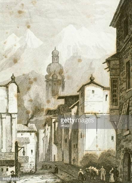 Innsbruck in 18th century Tirol Austria Drawing by Vormser engraving by Lejeune 1838