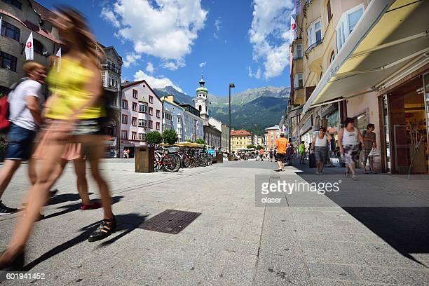 Innsbruck main shopping street, motion blur